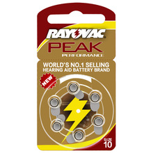 NEW 6 Pcs Zinc Air 1.4V Rayovac Peak Hearing Aid Batteries A10 10A ZA10 10 S10 Cell Button Battery 10/A10