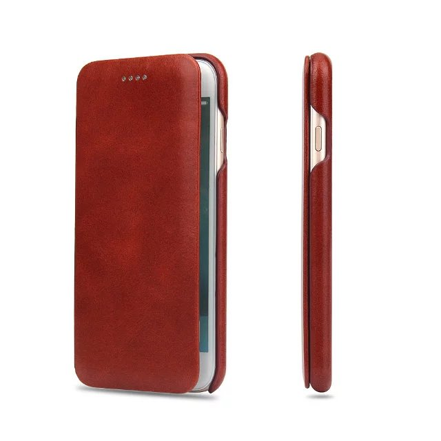 For iPhone 8 plus flip case Business Genuine cowhide Leather cover for Apple iPhone 7 6 6splus /11pro XS max XR Magnetic closure