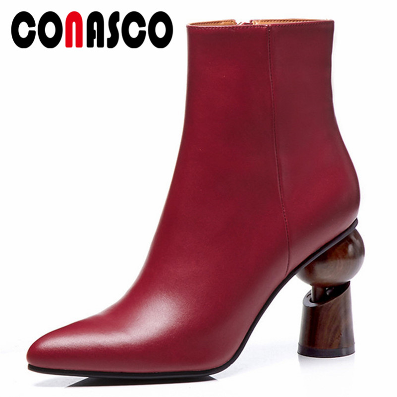 CONASCO 2019 Women Ankle Boots Strange Heels Zipper Martin Shoes Woman Genuine Leather Pointed Toe Office Pumps Short Basic BootCONASCO 2019 Women Ankle Boots Strange Heels Zipper Martin Shoes Woman Genuine Leather Pointed Toe Office Pumps Short Basic Boot