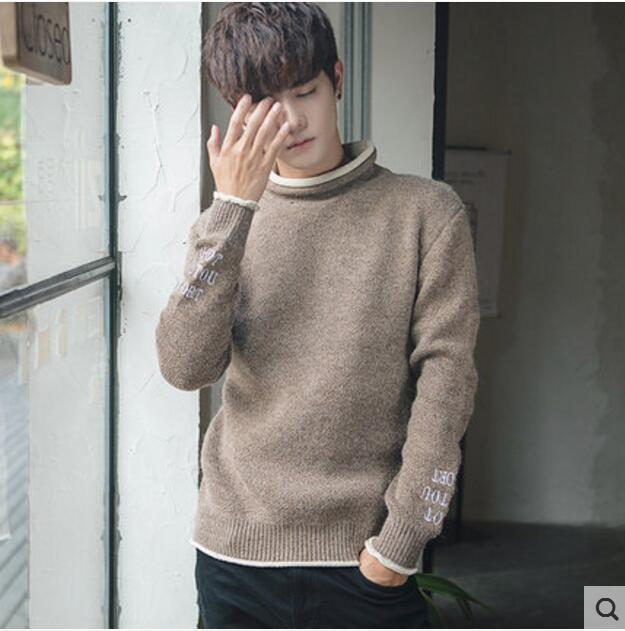 US $60 72 8% OFF|M~3XL! 2018 The new Korean winter holiday two sweater semi  turtleneck sweater male Japanese retro youth tide-in Pullovers from Men's