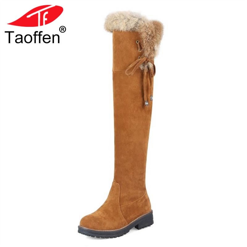 Taoffen Sexy Women Flats Boots Warm Round Toe Shoes Lace Up Over Knee Boots Plush Winter Fur Shoes Women Footwear Size 34-44 taoffen women high heels shoes women thin heeled pumps round toe shoes women platform weeding party sexy footwear size 34 39