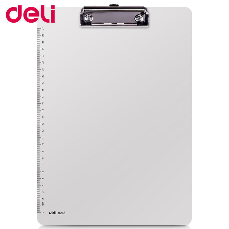 Deli Writing Board Clamp Pp Material A4 Pad Plate Clip Plastic Hanging Workshop Office Stationery Board Clip