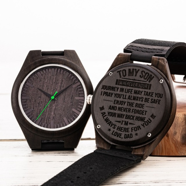 Engraved Wooden Men Wood Family for Son DAD MOM Engraving Wood Watches Gift Watch For Christams Valentine's Day Drop Shipping