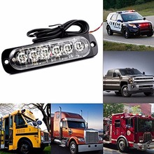 10pcs/set 12V 24V 6LED Ultrathin Strobe Marker Lights Car Pick-up Truck Motorcycle LED Amber Flash Emergency Warning Light Lamp
