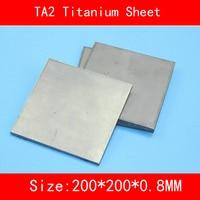 200x200x0.8MM Pure Titanium Sheet UNS Gr1 TA2 Titanium Ti Plate Industry lab DIY Material ISO