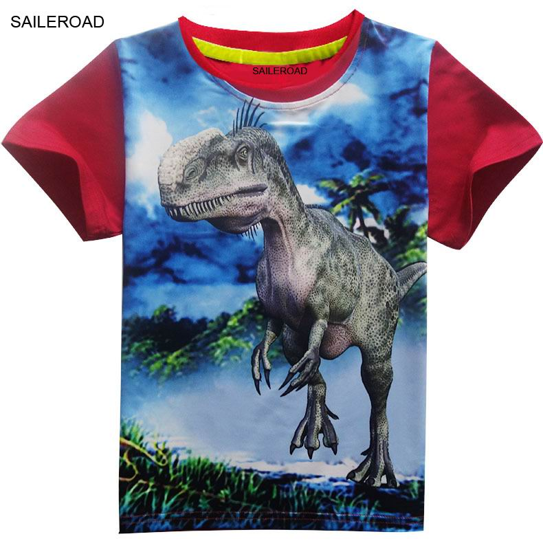 4-11Years Old Children Kids Shorts Tops Tees T Shirt Summer Teenager Boys Girls T-Shirt For Dinosaur Summer Shirts SAILEROAD 3