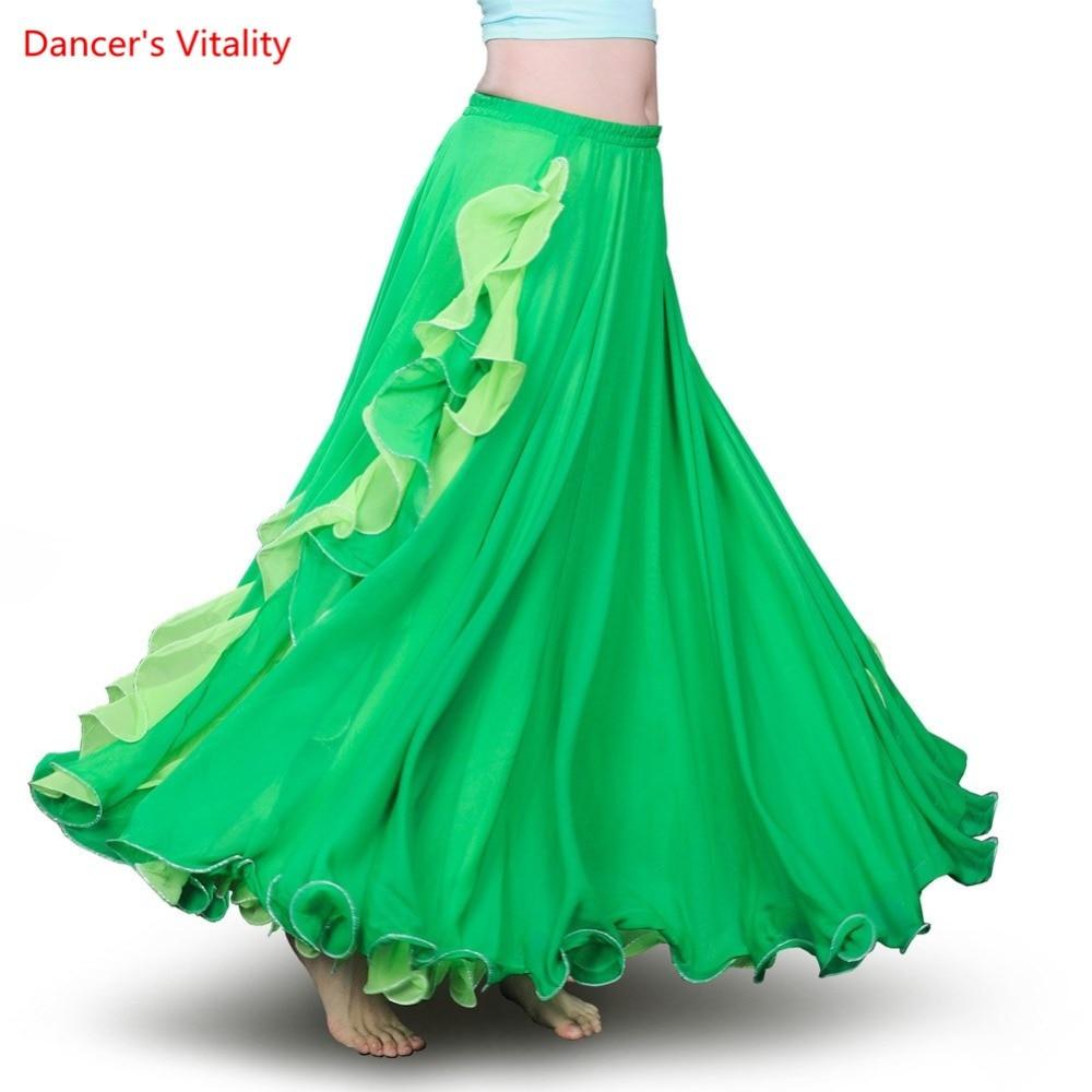 New Split Belly Dance Skirt Women Sexy Belly Dance Clothes Skirt Belly Dance Performance Skirt 7 Colors Lady Dance Skirt