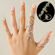New Fashion Accessories Chain Link Full Rhinestone Vintage Flower Double Finger Ring For Women Girl Nice Gift Party Jewelry