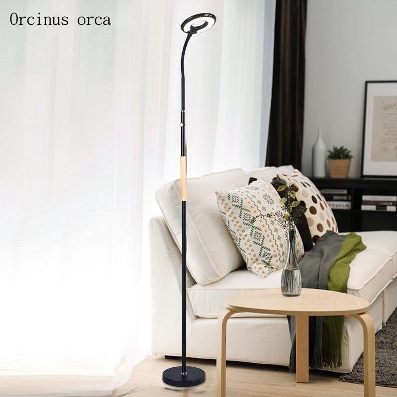 Nordic minimalist LED dimming floor lamp living room bedroom bedside lamp modern American style creative iron floor lamp