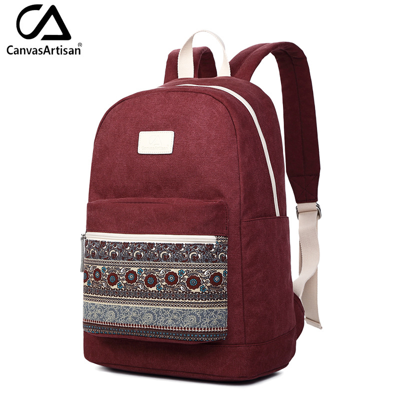Canvasartisan Top Quality Women Backpack Retro Floral Style Youth Schoolbag Canvas Casual College Book Bags Bagpacks