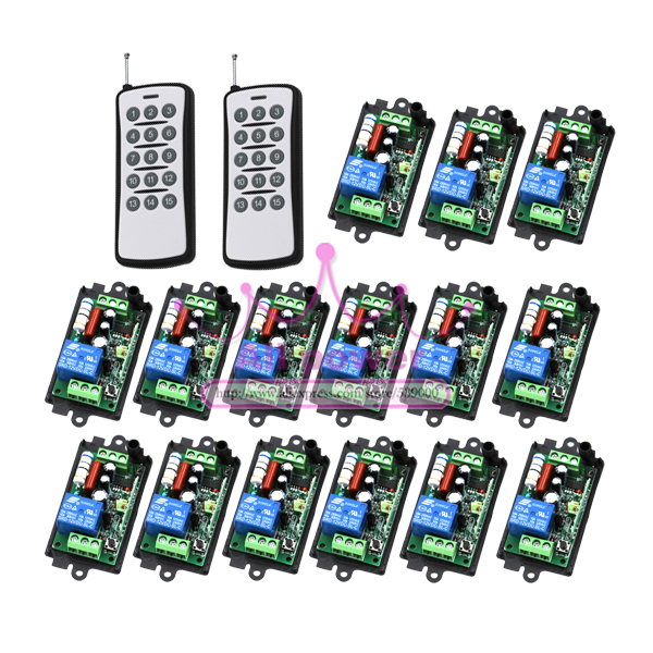Wireless 1 Channel Remote Control Switch 110V 220V RF Gate Garage Door 15pcs Receivers and 2pcs Transmitters jd211a1n5 top rating 5 channel switch rf wireless remote control light switch five digital receivers 110v and 220v