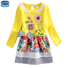 novatx H6641 Dresses girls wear kids long sleeve embroidery flower patten high quality bow dresses girls