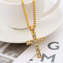 Crystal Cross Long Chain Fashion Hip Hop Alloy Gold Chains Necklaces for Women Men  Iced Pendants Necklace Jewelry