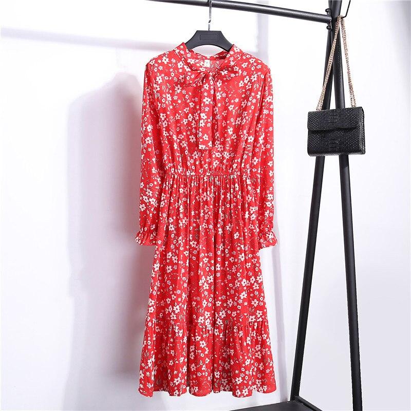 Summer Korean Chiffon Women Dress Elegant Ladies Vintage Long Dress Boho Floral Office Long Sleeve Vestidos Clothing 5LYQ003 34