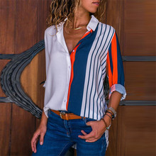 Women Blouses Chic Striped Print Office Shirt 2019 Fashion L