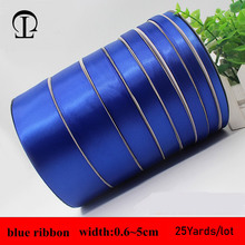 25yards/lot 0.6~5cm grosgrain Simple blue ribbon satin sewing bias for handicrafts DIY gift box packaging decoration
