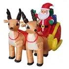 210 cm Riesigen Aufblasbaren Santa Claus Doppel Deer Schlitten Blow Up Spaß Spielzeug Für Kind Weihnachten Geschenke Halloween Party Prop LED Beleuchtete