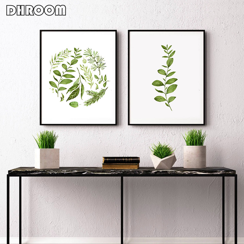 Minimalist Wall Art Watercolor Leaves Fern Leaf Canvas Prints Painting Scandinavian Style Botanical Decor Poster