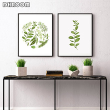 Minimalist Wall Art Watercolor Leaves Fern Leaf Canvas Prints Painting Scandinavian Style Botanical Decor Poster