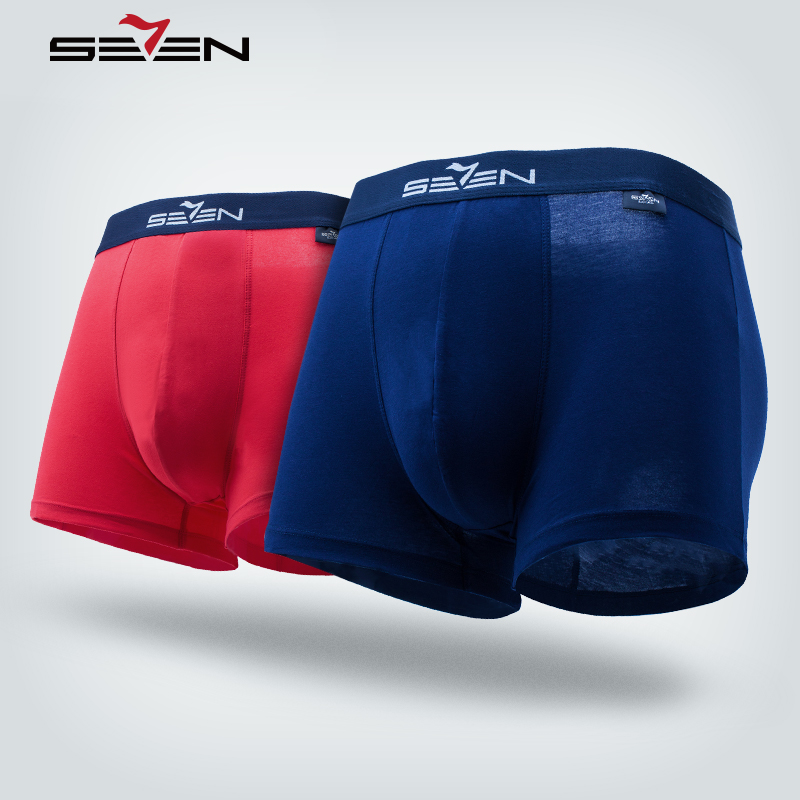 Seven7 Brand Soft Breathable Mens Boxer Underwear Cotton Boxer Shorts For Men Homme Hot Sexy Solid Male Panties 109G40140