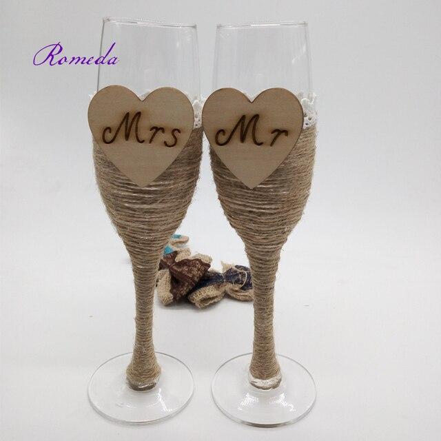 1 par Rústico Regalo de Boda Nupcial de la Ducha de la boda Tostado Copas de Champán Conjunto de arpillera de yute Personalizada copa de vino de la boda