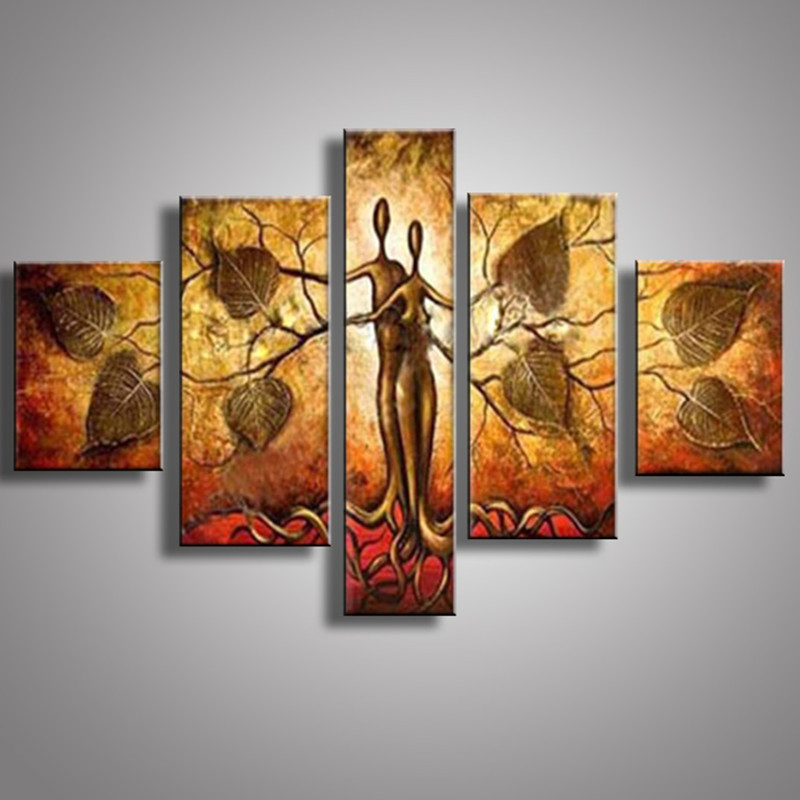 Hand painted Abstract Gold Paintings Handmade Tree Lovers Oil Painting Wall Art Large 5 Panel Canvas