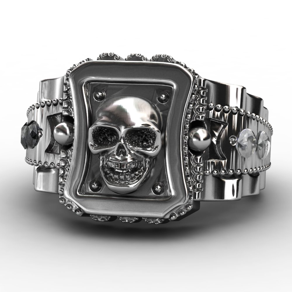 EVBEA 2017 Design Skull Men Ring Zinc Alloy Punk Rock Rings Fashion DIY For Happy NEW Year Gift Bike Rings alloy tooth eye rock ring