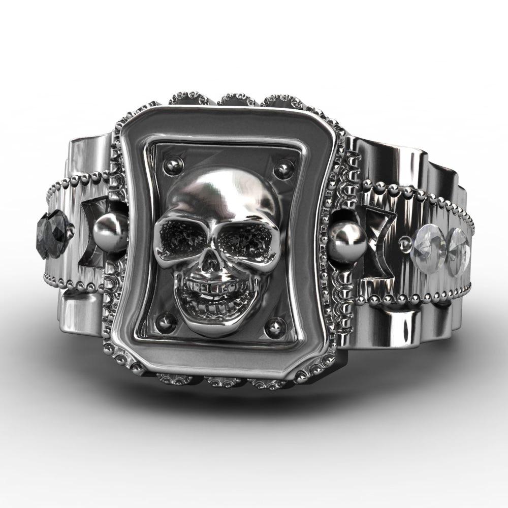 EVBEA 2017 Design Skull Men Ring Zinc Alloy Punk Rock Rings Fashion DIY For Happy NEW Year Gift Bike Rings