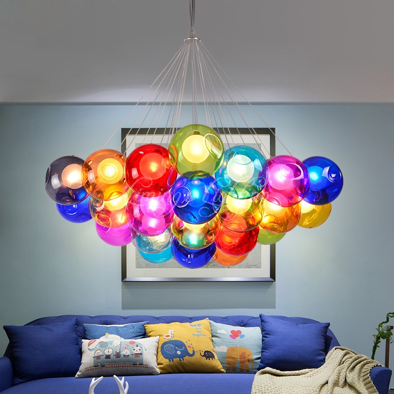 European simple design modern decorative dining room bedroom bar Chandelier double cover G4 LED glass crystal ball hanging lamp цена и фото