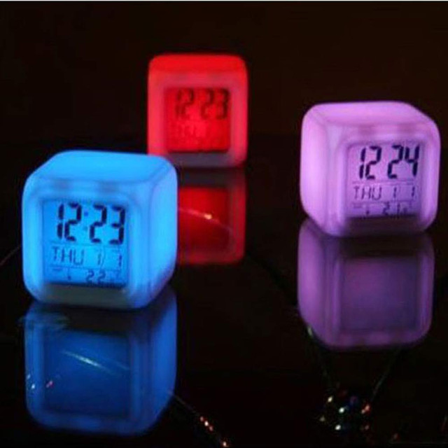 Alarm Clock 7 LED Colors Changing Digital Glowing Alarm Clock calendar Digital Alarm Thermometer Night Glowing Cube LED Clock