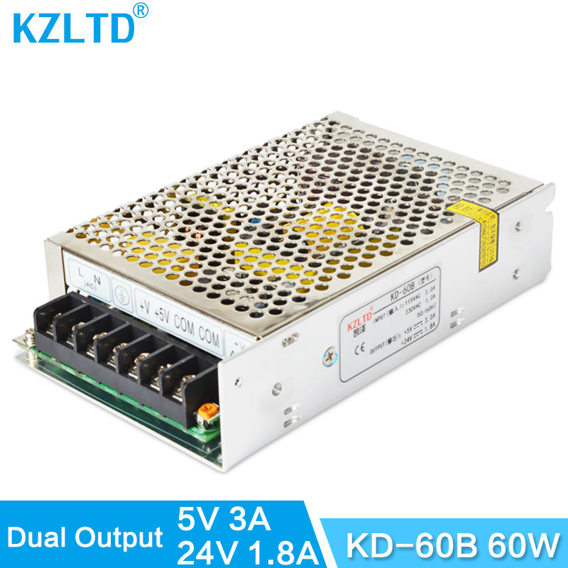 AC-DC Power Supply Dual Output 5V 24V 60W Switch Power Supply 110V / 220V to 5V / 24V Transformer for LED Light CNC Monitor ac110 220v dc 24v 6 5a 150w double output switch power supply for led striplight xwj