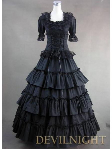 Классический Черный Длинные Пром Готическая Лолита Платье