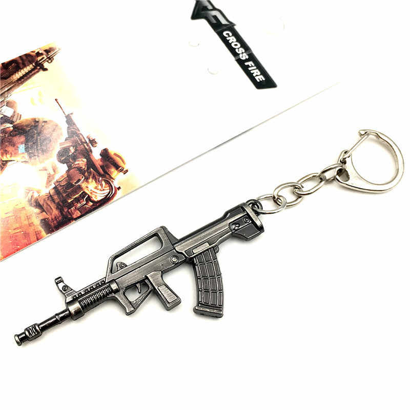 2019 New PUBG Hot Online Games Cross Fire AK47 Model Key Chain Wholesale Cool Metal Weapon Key Ring Men's Jewelry Pendant