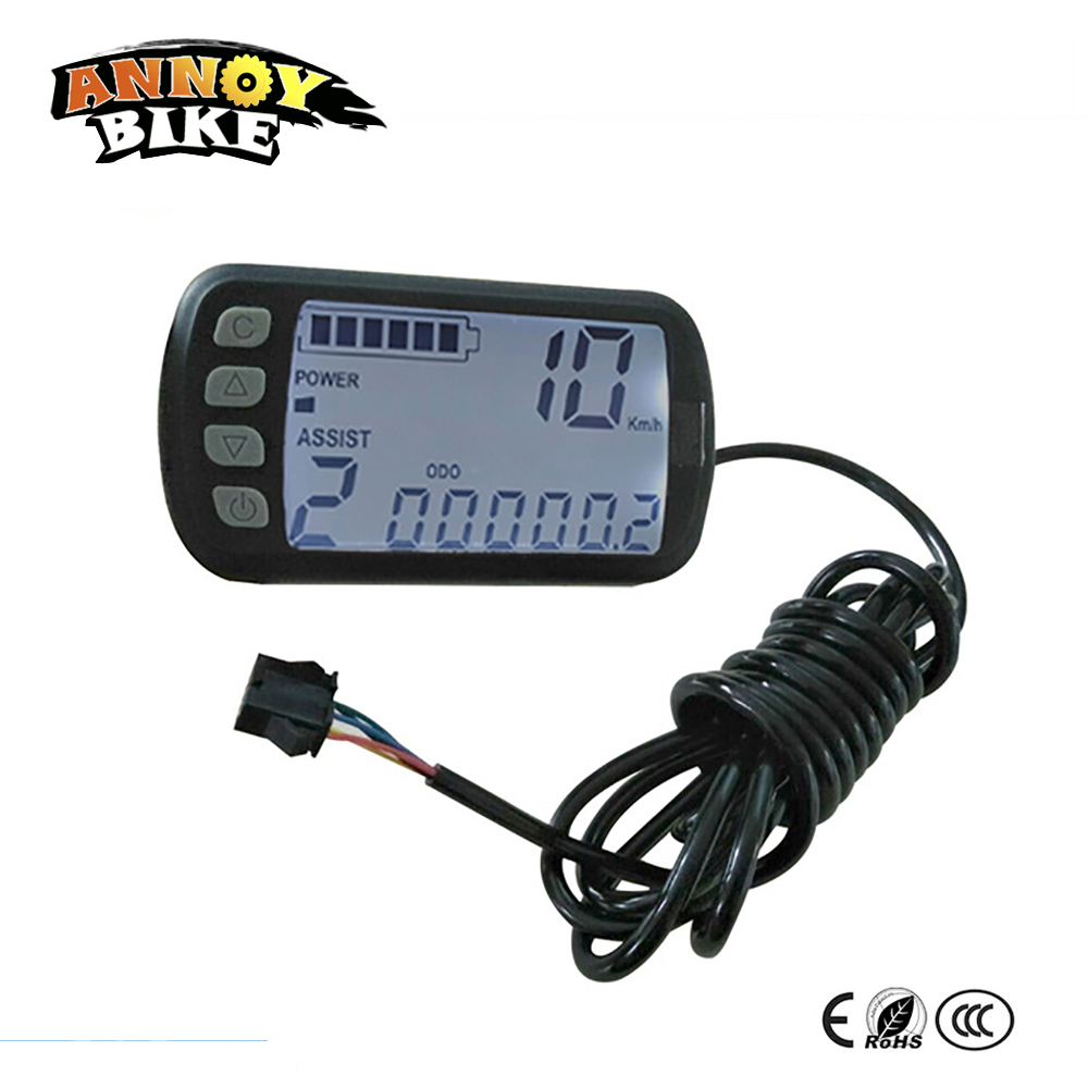Mini LCD Display For Electric Bike 24V 36V 48V Scooter Motorcycle Speedmeter Waterproof Ebike Display With 5 Connector WiresMini LCD Display For Electric Bike 24V 36V 48V Scooter Motorcycle Speedmeter Waterproof Ebike Display With 5 Connector Wires