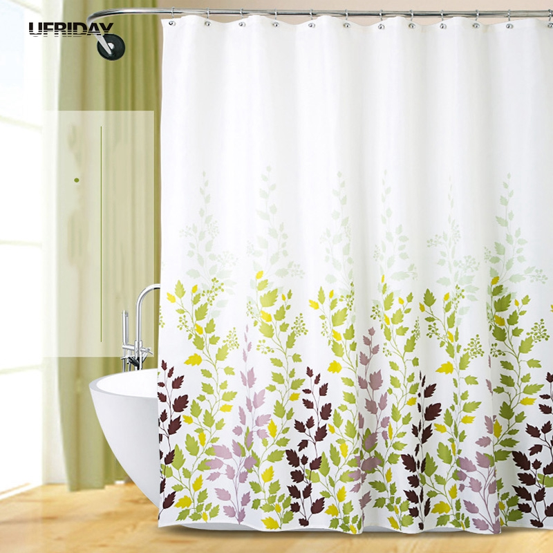 ufriday simple 100 polyester shower curtains green purple leaves printed waterproof hooks bathroom curtains home decoration new