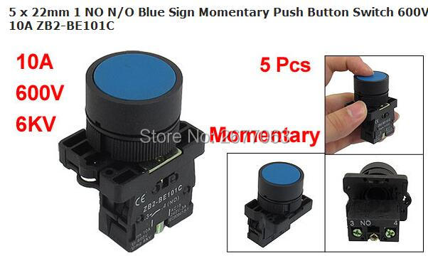 5 x 22mm 1 NO N/O Blue Sign Momentary Push Button Switch 600V 10A ZB2-BE101C