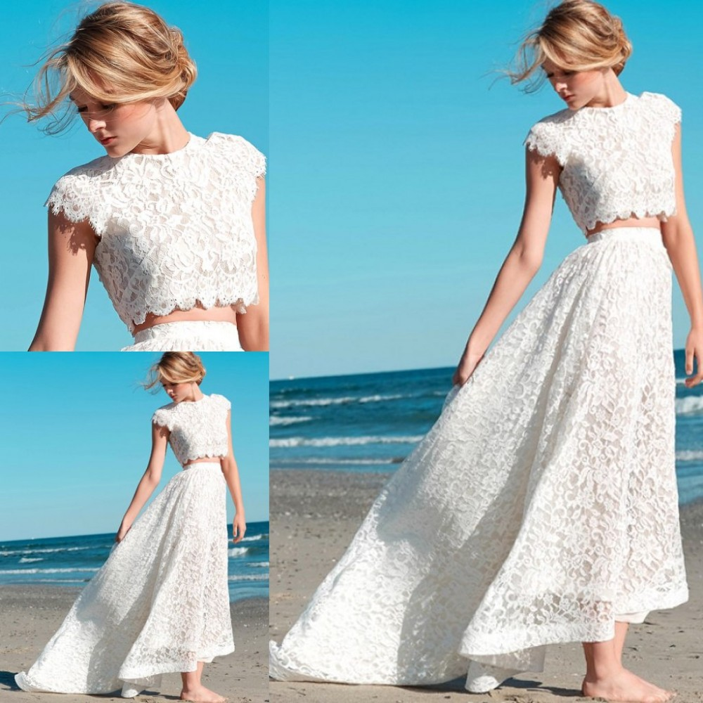 2015 New Fashion Two Piece Wedding Dress Lace High Neck Beach Bridal ...