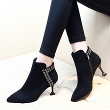 цены 2018 Newest Solid Color Ankle Boots Women Thin High Heels Chelsea Boots Ladies Rivet Winter Martin Boots Shoes CH-B0109