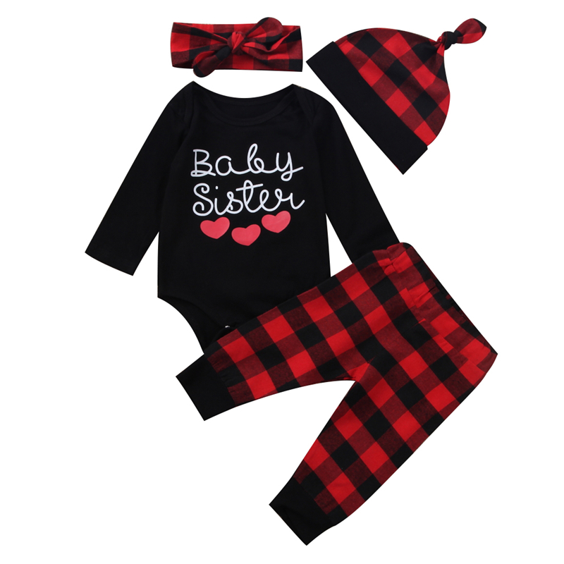 4pcs Hot Sale Baby Girl Clothes Set Newborn Kids Baby Girl Romper+Plaid Pants+Headband+Hat 2017 New Arrival Fashion Outfits Set