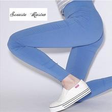 stretch high waist trousers legging 2017 solid Pencil long pants leggins workout leggings