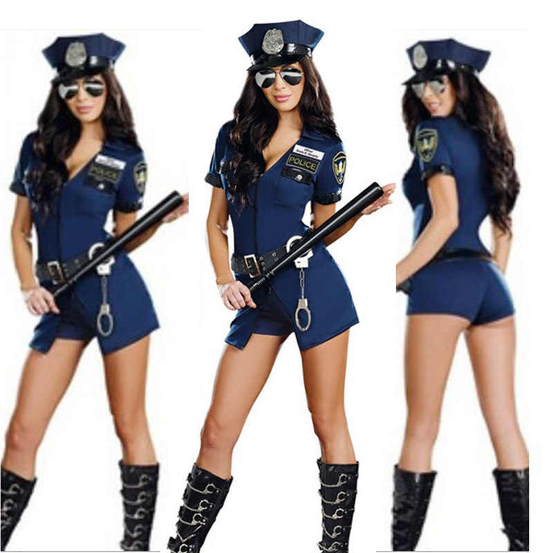Vocole Women Sexy Police Officer Cosplay Costume Halloween Policewoman Cosplay Bodysuit Fancy Dress Uniform With Handcuffs