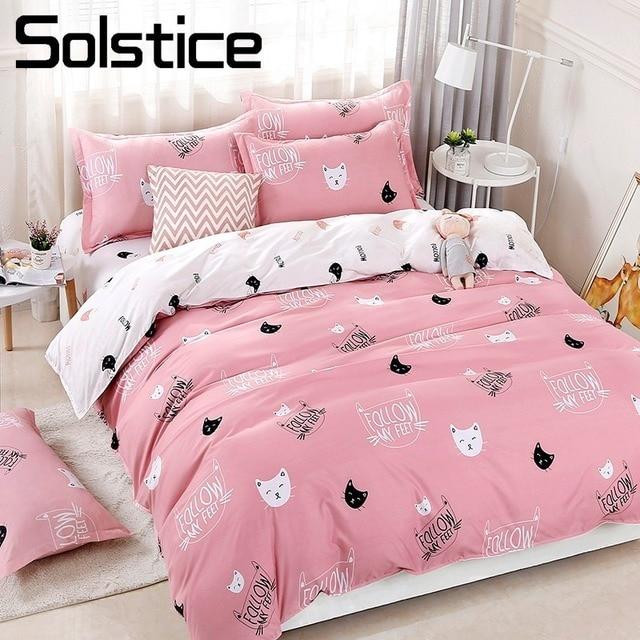 Solstice المنسوجات المنزلية حاف الغطاء ورقة كيس وسادة جميل الوردي القط كيتي طقم سرير بنات طفل في سن المراهقة امرأة بياضات سرير ملاءات