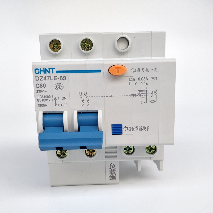 CHINT DZ47LE-63 2P C60A 30mA  Earth Leakage Circuit Breaker/Residual Current Operated Circuit BreakerCHINT DZ47LE-63 2P C60A 30mA  Earth Leakage Circuit Breaker/Residual Current Operated Circuit Breaker