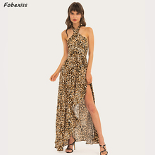 цена на Sexy Vintage Leopard Print Dress Halter Backless Split Maxi Dress Sleeveless High Waist Party Dress 2019 Elegant Woman Dresses