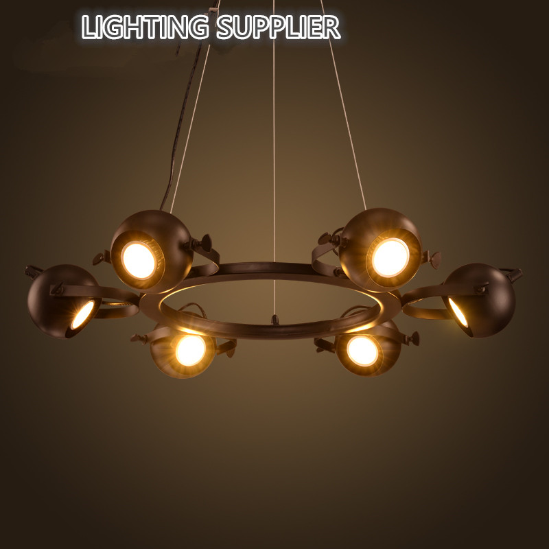 6/8 Head Black Color Loft Style Wrought Iron Pendant Light Industrial Vintage Coffee Shop Decoration Lamp Free Shipping black wrought iron loft lamp industrial pendant with candle holder rustic vintage light fixtures for room restaurant decoration