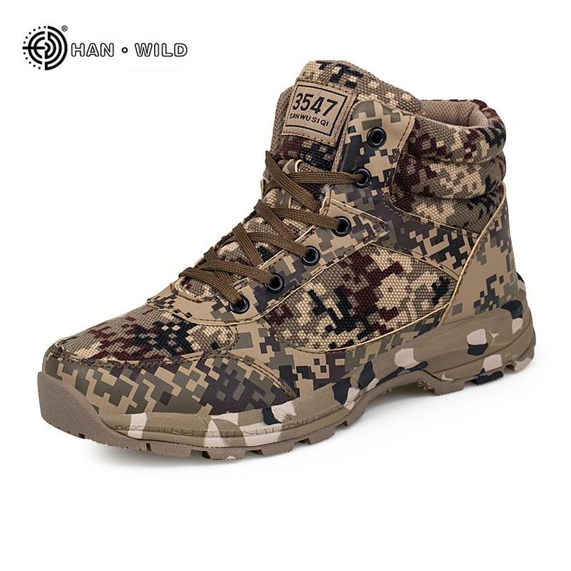Зимние прочные Мужские зимние сапоги теплая камуфляжная хлопок армейские ботинки тренер обувь Для мужчин s военные ботильоны ...