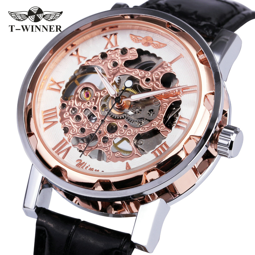 Fashion Ladies Watches Top Brand Luxury WINNER Mechanical Wrist Watches Hand-wind Roman Number Leather montre femme Gifts +BOX