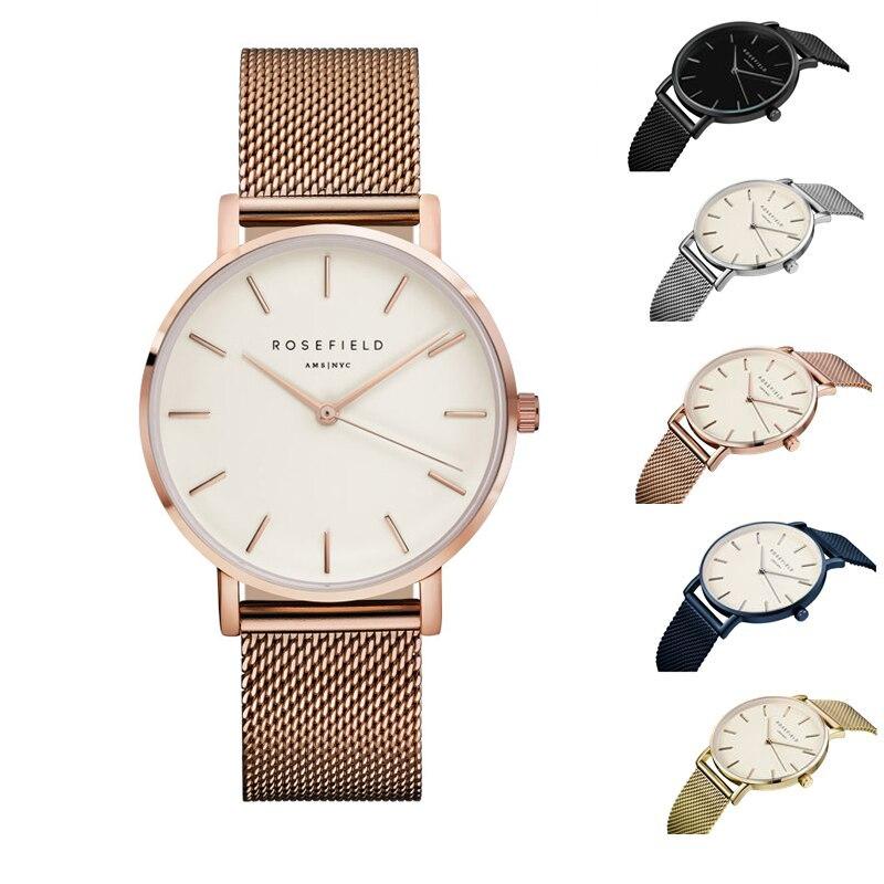 2018 Fashion Metal Mesh ROSEFIELD Watch Women Men Ladies Luxury Simple and casual designer watches Quartz watch waterproof watch