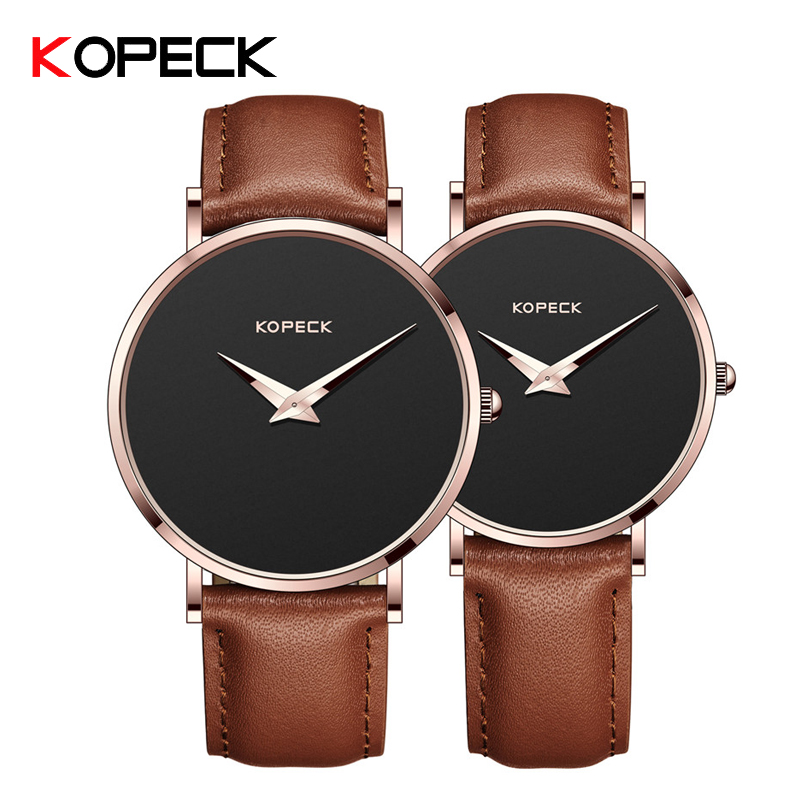 KOPECK Top Brand Fashion Couple Watches For Men Women Waterproof Leather Strap Relogio Masculino Montres Homme Quarzt Clock