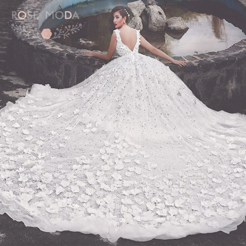 Luxury Bling 3D Flowers Princess Wedding Dress with 3M ...